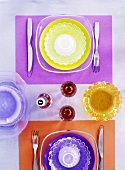 Table setting in seventies style