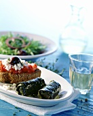 Dolmades (vine leaves) and bifteki (rissoles) from Crete