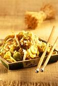 Plate of Nasi goreng with chopsticks