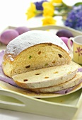 Easter bread with candied fruit and raisins