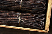Bundles of vanilla pods in a wooden crate
