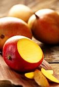 Mango, cut open