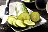 Cucumber, sliced with a knife