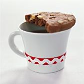 Chocolate hazelnut cookie on a cup