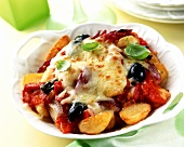 Baked potato and vegetable ratatouille