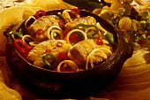 Bacalhau (stockfish steaks with peppers & onions, Brazil)