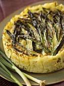 Rice cake with green asparagus