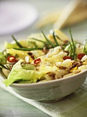 Vegetable salad with white asparagus, egg and chicory