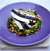 Pickled herring fillets on bean salad