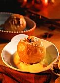 Stuffed baked apple with custard