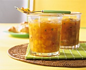Two jars of mango jam with chili