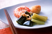 Seaweed and butterbur sprouts with shrimps (Japan)