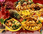 Easter buffet with various poultry dishes (Poland)