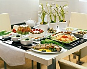 Table laid in modern style with Easter dishes (Poland)
