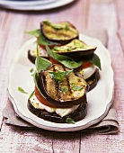 Aubergine pieces with mozzarella & tomato stuffing