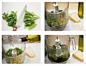 Making rocket pesto with vegetable chopper