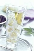 Elderflower ice cubes in a glass