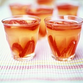 Strawberry and champagne jelly, served in glasses
