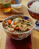 Shrimps in spicy coconut milk sauce & a bowl of fragrant rice
