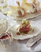 Tuna with shrimps and vegetables baked in paper