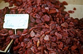 Dried strawberries on market stall