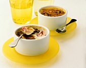 Crème brulee with rhubarb in two bowls