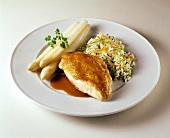Roast chicken breast with white asparagus and vegetable rice