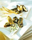 White asparagus in seaweed and tempura batter
