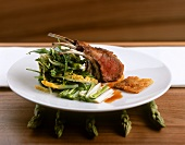Rack of lamb with marinated asparagus & lettuce bouquet