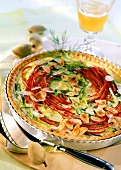Almond and leek tart with strips of pepper