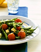 Green beans with feta and cocktail tomatoes