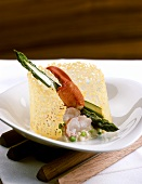 Asparagus risotto with lobster meat and Parmesan lattice