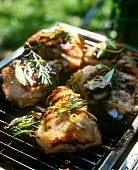 Barbecued rabbit pieces on grill rack