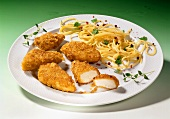 Chicken nuggets with spaghetti