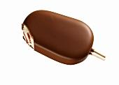 Chocolate-coated vanilla & strawberry ice cream on stick