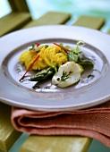 Glass noodle salad, marinated scallops & turmeric vinaigrette