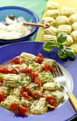 Gnocchi with tomato sauce, basil and Parmesan