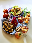 Green salad with peaches; apricot dumplings; cold fruit soup