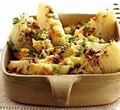 White cabbage gratin in a gratin dish