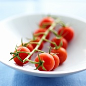 Truss of cherry tomatoes (cocktail tomatoes) on a plate