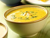 Creamed carrot soup in bowl