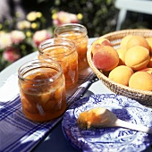 Apricot jam in preserving jars