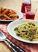 Spaghetti, minced lamb & leek sugo & penne with Bolognese sauce