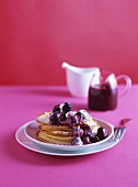 Buttermilk pancakes with blueberry cream