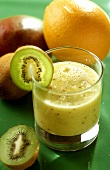 Orange and kiwi fruit drink with mango and instant oat flakes