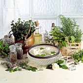 Aromatic herbs, rose petals and beauty products