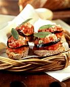 Crostini pomodoro e melanzana (Crostini with vegetables, Italy)