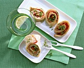 Turkey and cheese wrap, with cress garnish