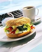 Salad sandwich with herb soft cheese