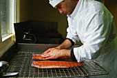 Processing wild Irish salmon: removing traces of blood